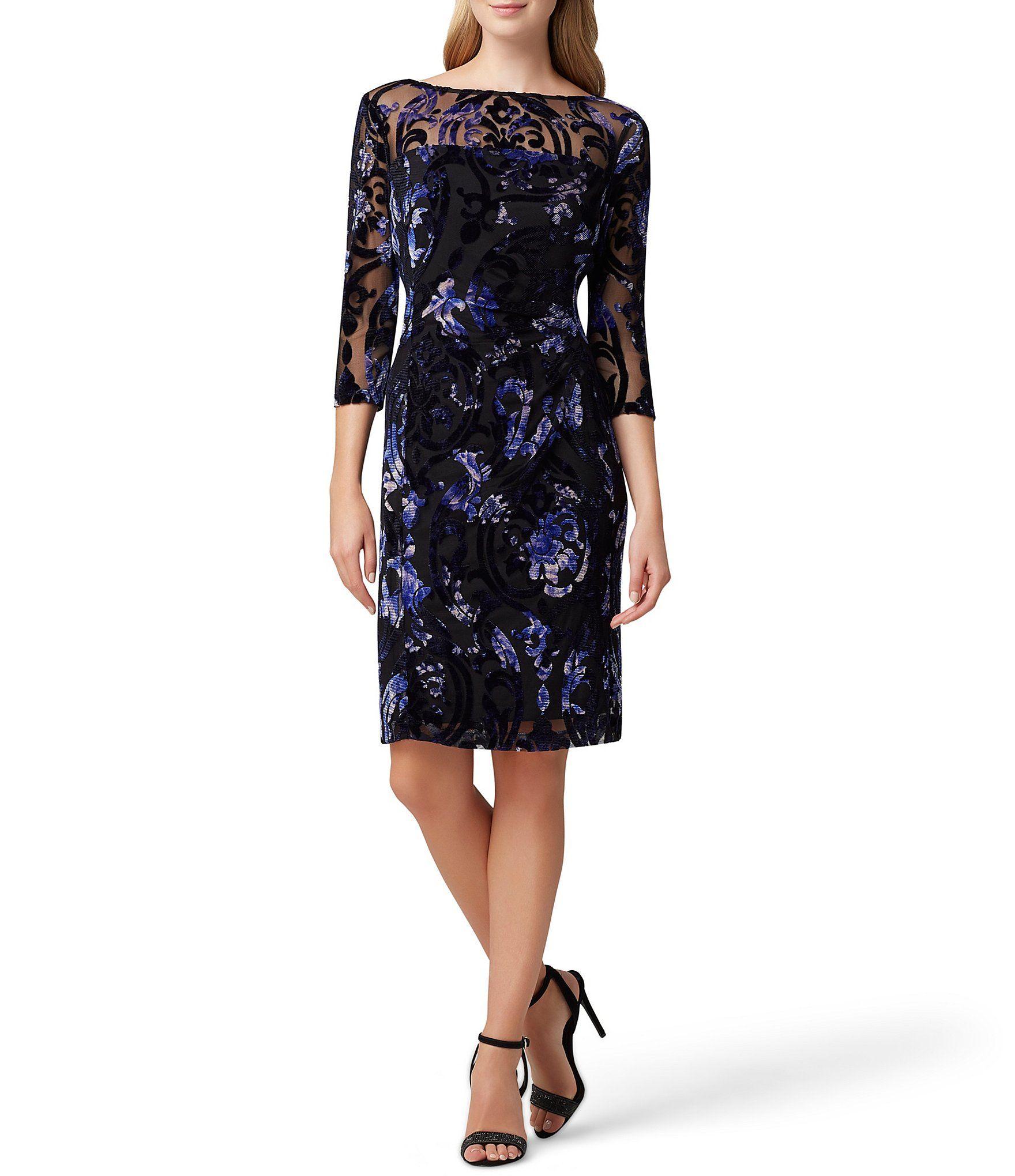 Tahari ASL Floral Print Velvet Burnout Sheath Dress – Black/Purple Burnout 6
