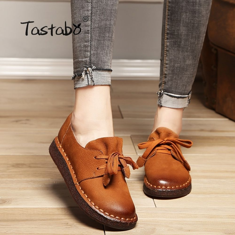 Tastabo 2018 Lace-up Loafers Casual Flat Shoe Pregnant Women Shoe Mother Driving Shoe Female Women Flats Hand-Sewing Shoes