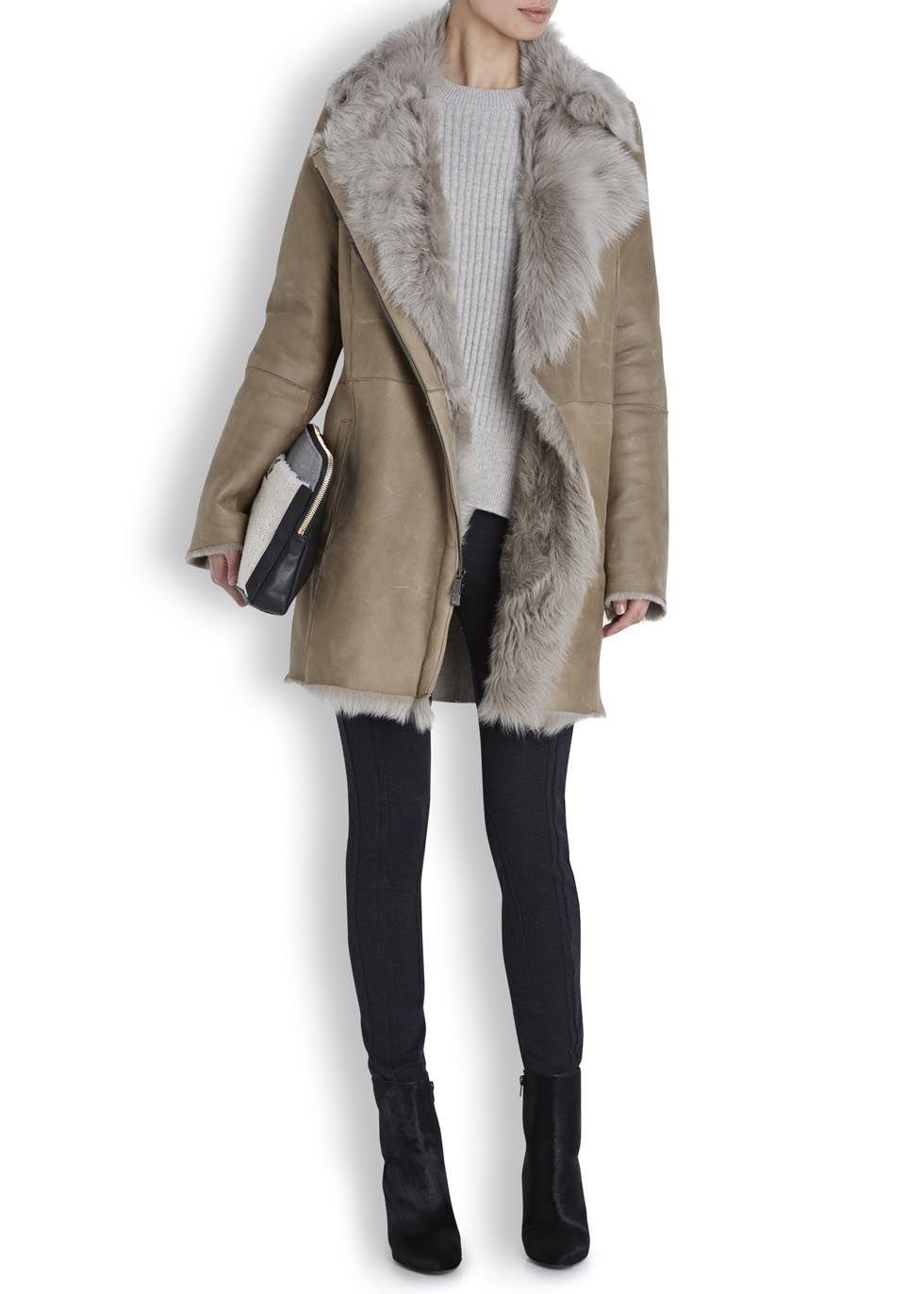 Taupe toscana shearling coat – Women