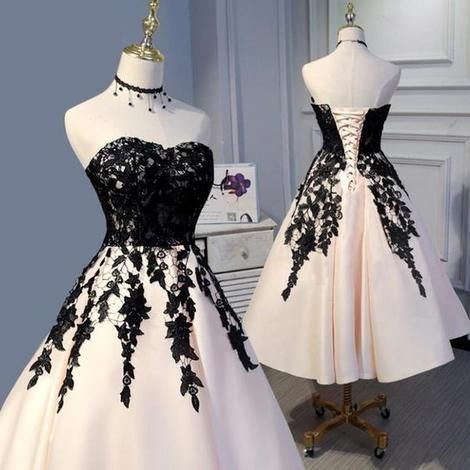 Tea Length Champagne and Black Lace Wedding Party Gown Formal Prom Dress ML914