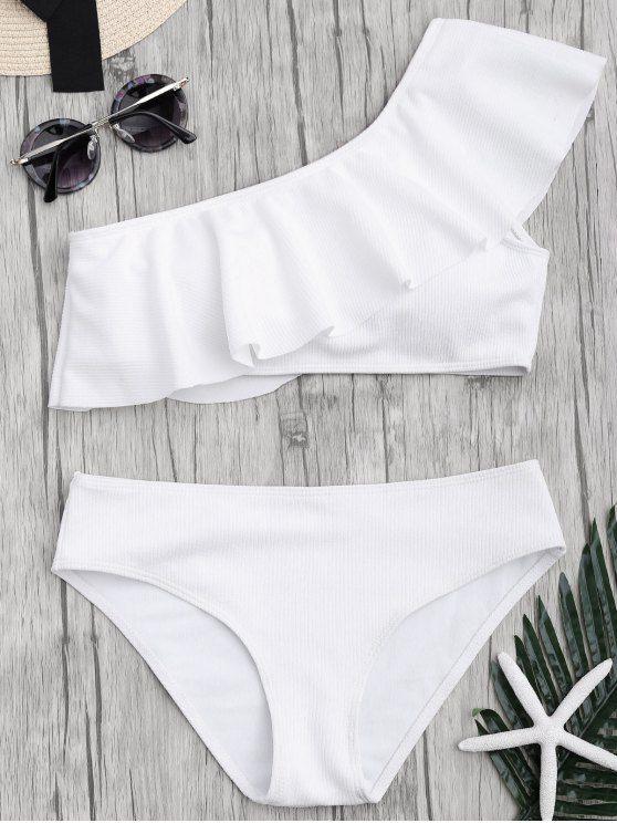 Textured Ruffle One Shoulder Bikini Set