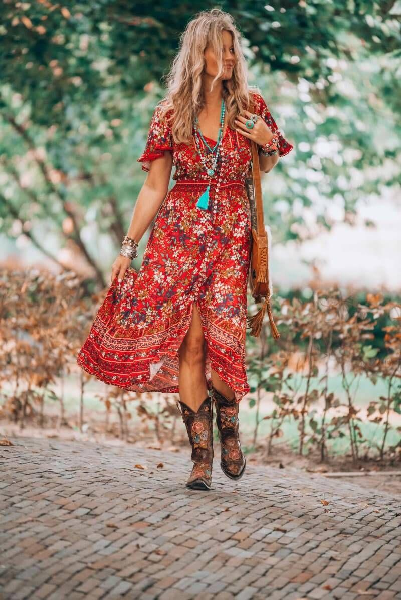 That fabulous red dress bohemian style that has got everybody talking