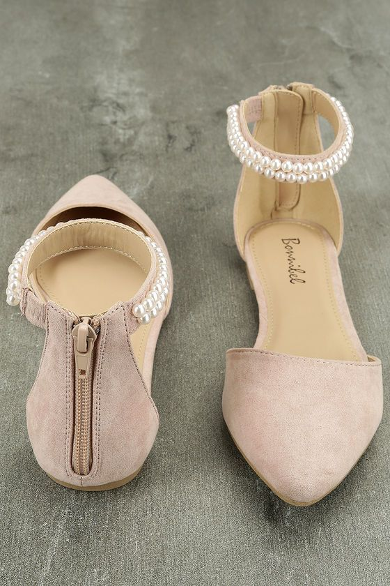 The Kelby Blush Suede Ankle Strap Flats is a classy flat with just the right amo…