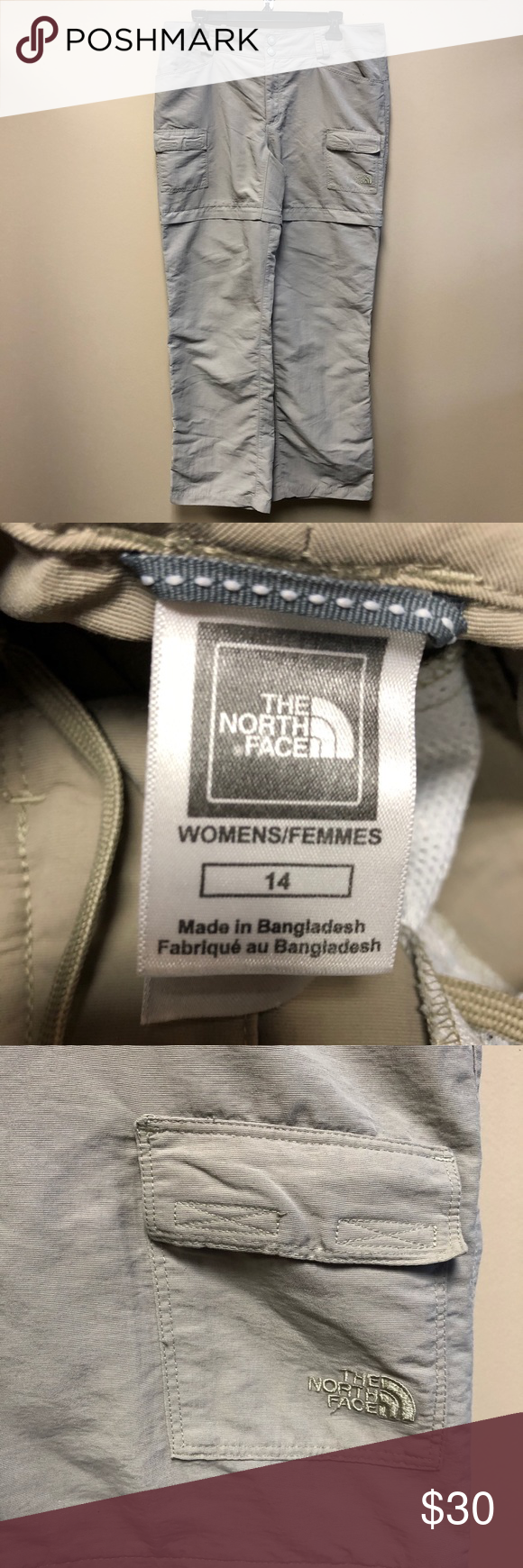 The North Face beige Convertible hiking pants 14 In great condition. The North f…
