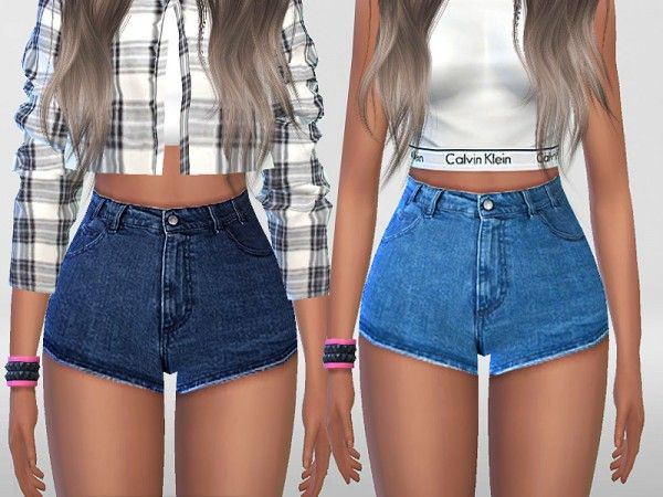 The Sims Resource: Summer Blue Denim Shorts by Pinkzombiecupcakes
