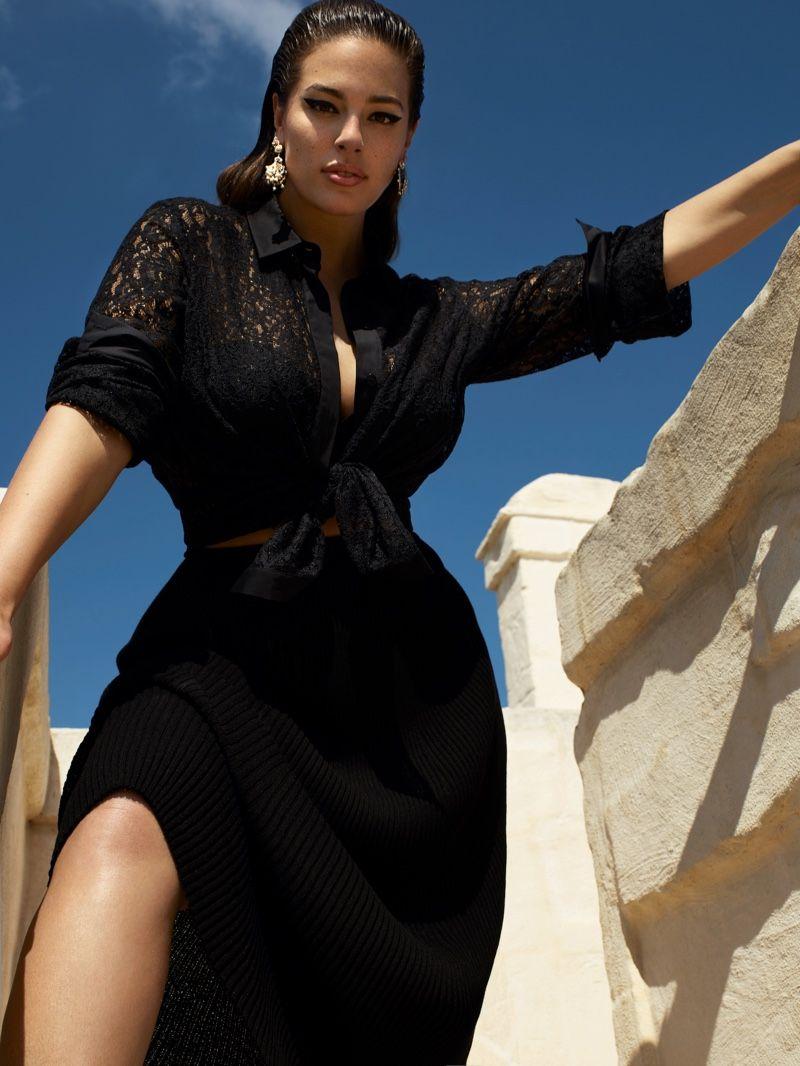 The plus size model flaunts her figure in Marina Rinaldi's spring-summer 2019 ca…