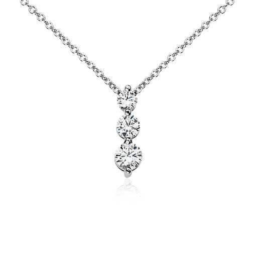 Three-Stone Drop Diamond Pendant in 18k White Gold (1/2 ct. tw.)