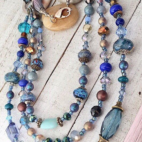 Three Strand Necklace, Turquoise Necklace, Necklace for Women, Gift for Women, Womens Jewelry, Silk Ribbon Tie Necklace, Womens Necklace