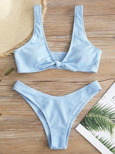 Tie Front Ribbed Bikini Set – Light Sky Blue S