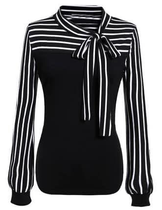 Tie-neck Striped Blouse