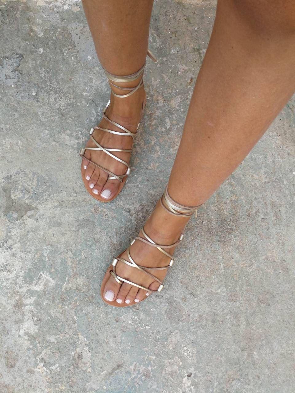 Tie up Greek sandals, Gold Gladiator Sandals, Leather Sandals, Flat Sandals, Handmade, Women sandals, Lace up, Summer Sandals, Real Leather