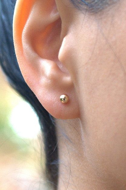 Tiny 14K gold filled ball stud multiple gold piercings nickel free mix and match dainty earrings nose minimalist gold stud