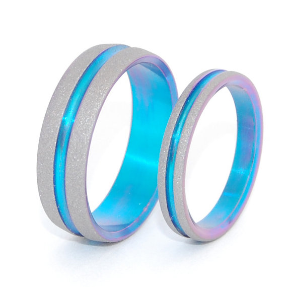 Titanium Wedding Bands, titanium wedding rings, mens rings, womens rings, turquoise, unique wedding rings – YOU and ME in the TURQUOISE Sea