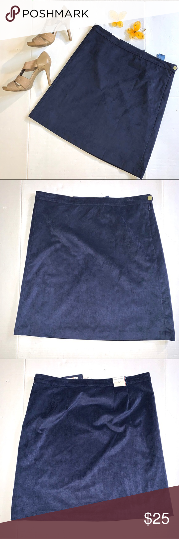 Tommy Hilfiger Navy Blue Faux Suede Skirt Gorgeous closet basic work wear with t…