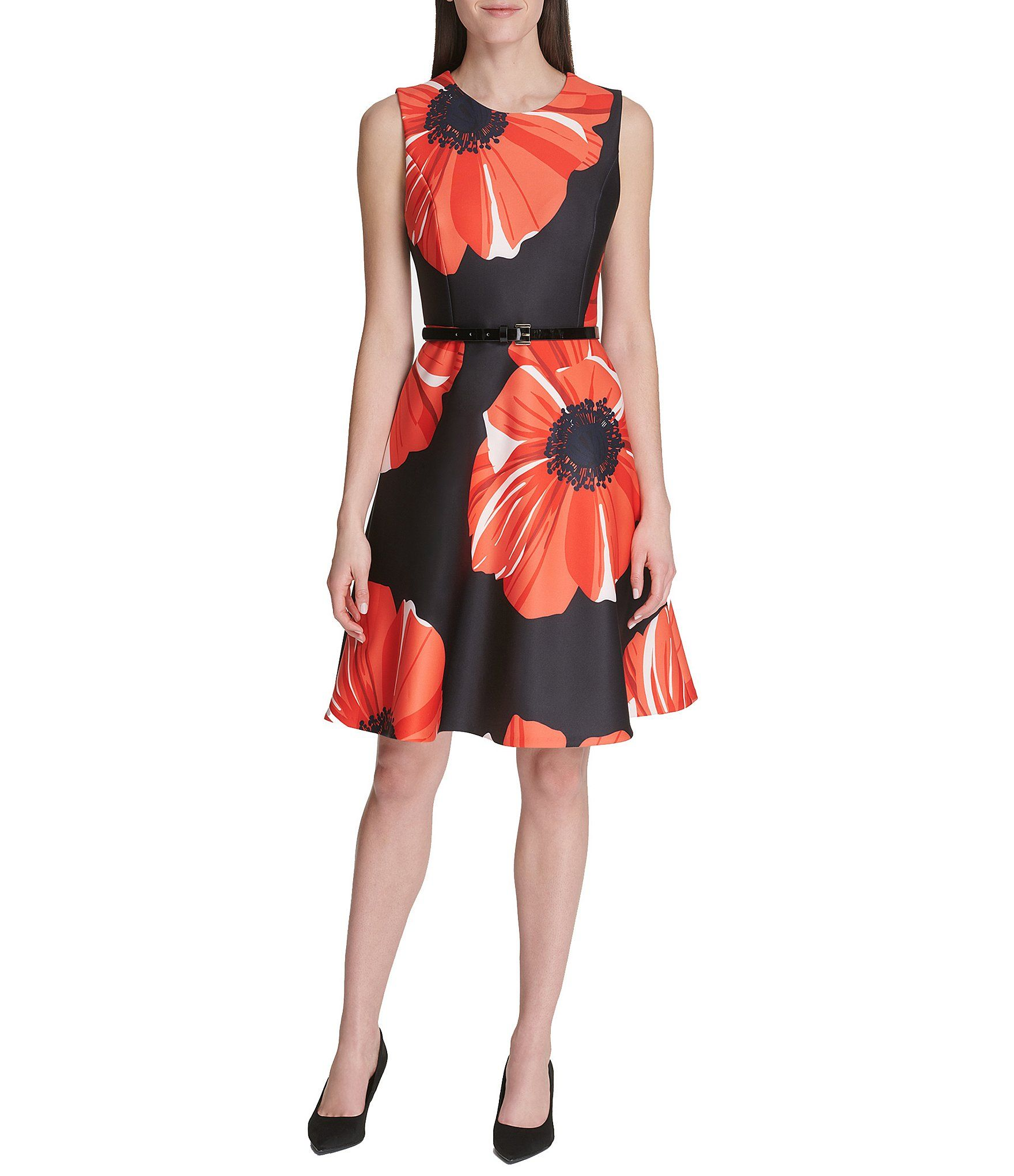 Tommy Hilfiger Poppy Floral Print Belted A-Line Dress – Black Cherry 4