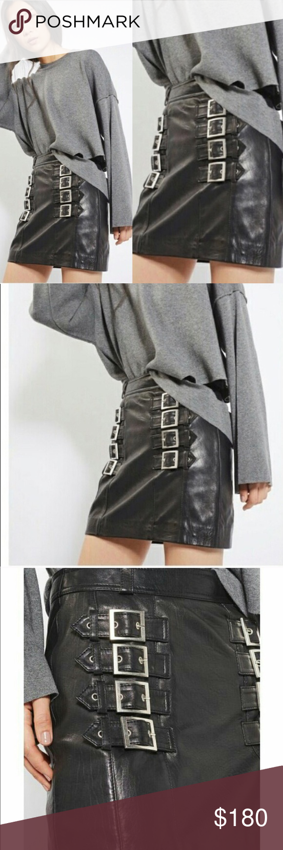 TopShop Leather Buckle Mini Skirt TopShop Leather Buckle Mini Skirt 100% Leather…