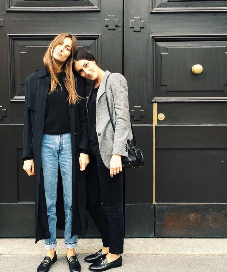 Tordini sisters, jeans, blue trench coat, grey blazer, flat shoes, Gucci Loafers…