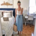 Traded in my skinny jeans for a denim midi skirt this weekend  The fabric on thi...