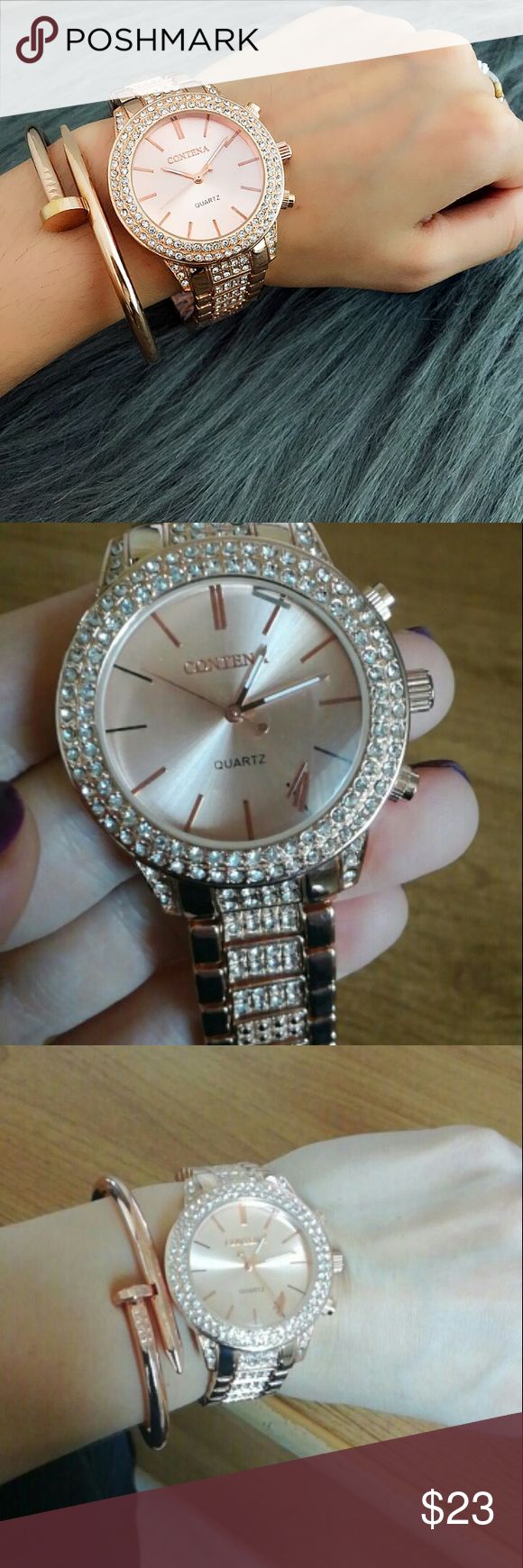 Trendy Watch Rose gold famous design watch ! Full of  diamonds 💎 Band length:…