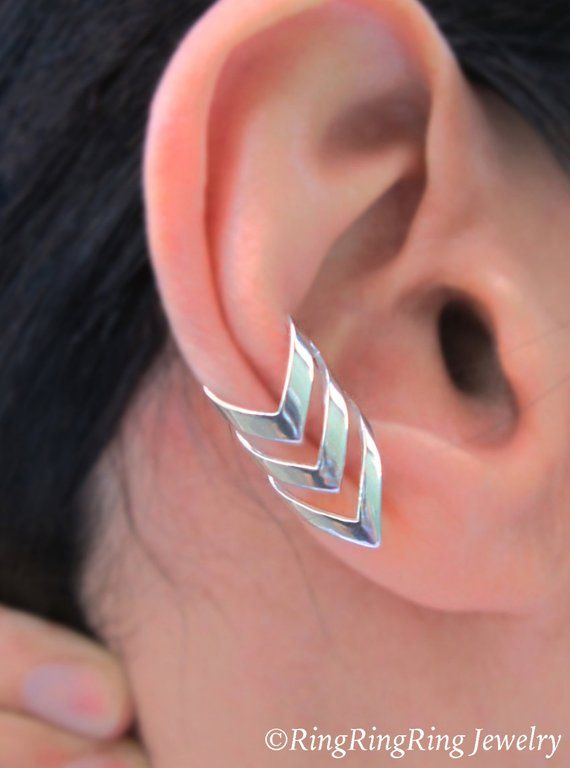 Triple chevron arrow ear cuffs Sterling Silver earrings Arrow jewelry Chevron earrings Sterling silver Ear Cuff men women ear clip C-197