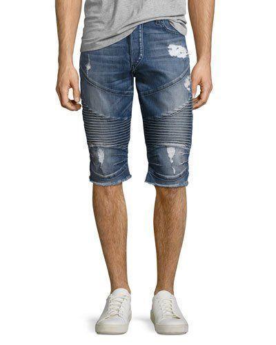 True Religion Geno Moto Denim Cutoff Shorts, Blue #denimcutoffshorts True Religi…