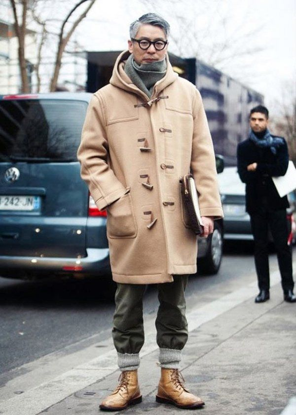 Try teaming a camel duffel coat with charcoal chinos for drinks after work. A pa…