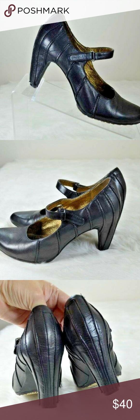 Tsubo Anush Black Leather Raised Stitch Mary Jane Tsubo Anush Black Leather Rais…