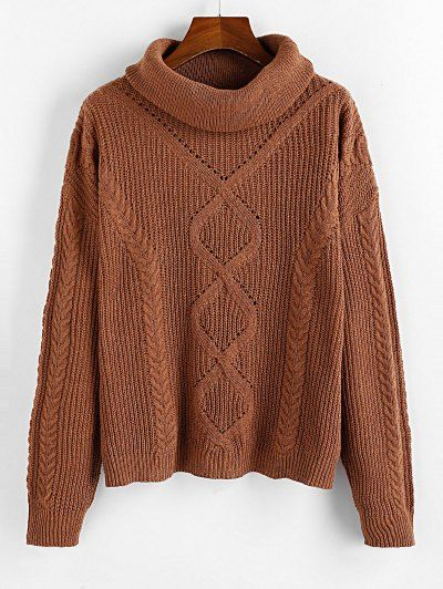 Turtleneck Openwork Drop Shoulder Sweater WOOD