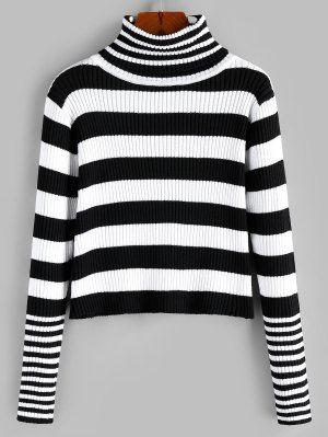 Turtleneck Striped Ribbed Jumper Sweater MULTI-B