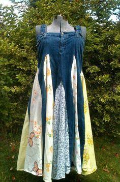 Twirly Jean Dress – Up-Cycled – XL