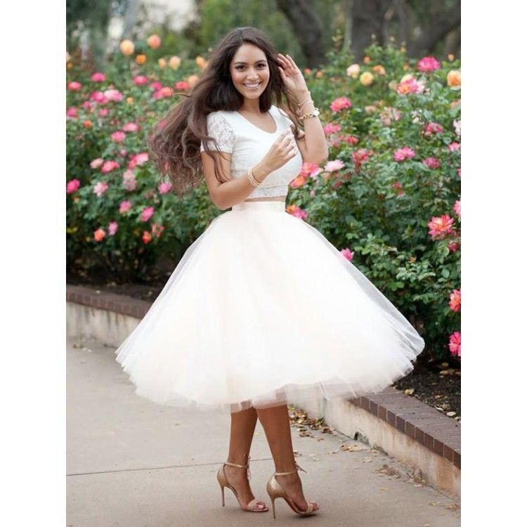 Two Piece, Prom Dresses Short, Ivory Prom Dresses, A-Line