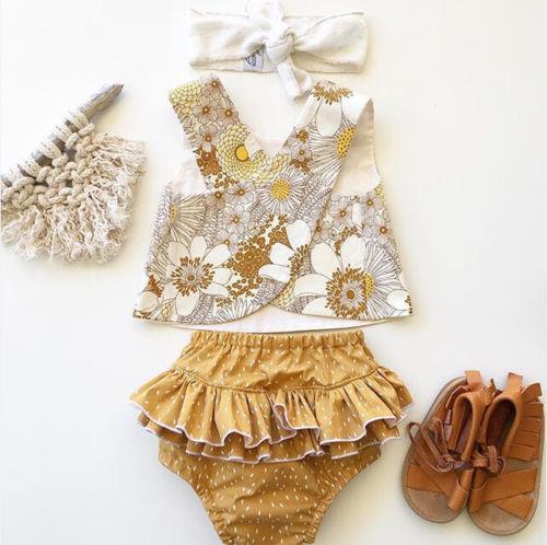 US Flower Newborn Baby Girls Outfit Clothes Romper Tops T-shirt+Shorts Pants Set US Flower Newborn Baby Girls Outfit Clothes Romper Tops T-shirt+Shorts Pants Set