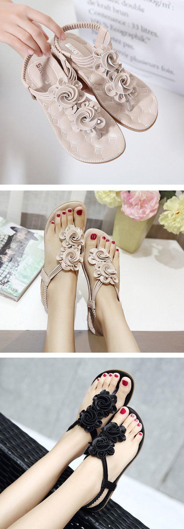 US$17.66 Flower Bohemia Clip Toe Elastic Flat Sandals For Women_Women Flat Sanda…