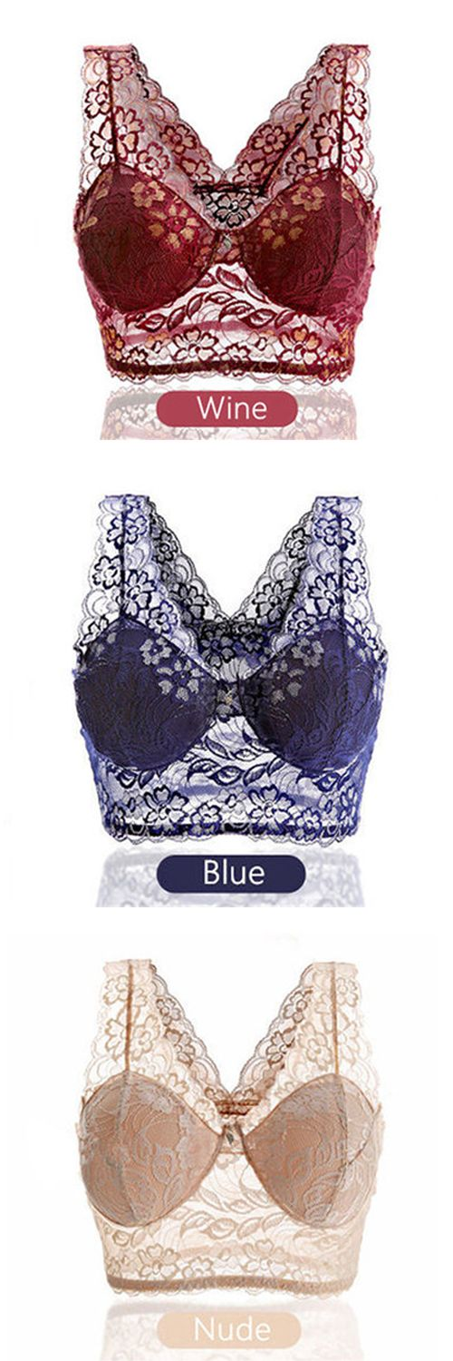 US$6.77 Women Sexy Lace Embroidered Seamless Bra No Rims Sleeping Vest Bras | Sp…