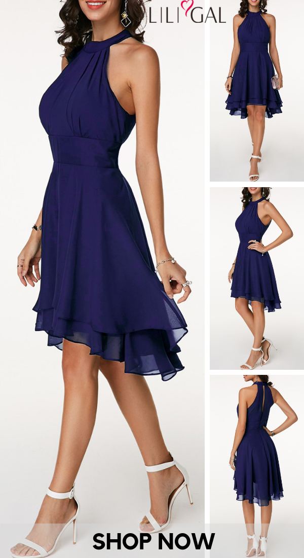 USD31.85   High Waist Sleeveless Asymmetric Hem Navy Blue Dress