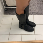 Ugg tall leather boot with zipper Selling ugg fashion black almost to the knee l...