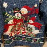 Ugly Christmas Sweater Holiday Party Snowman Scene Tiara International Snowman C...