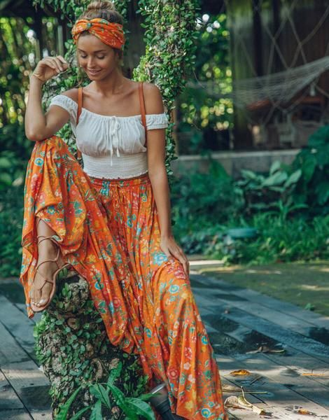 Ulu florence maxi skirt orange blossom