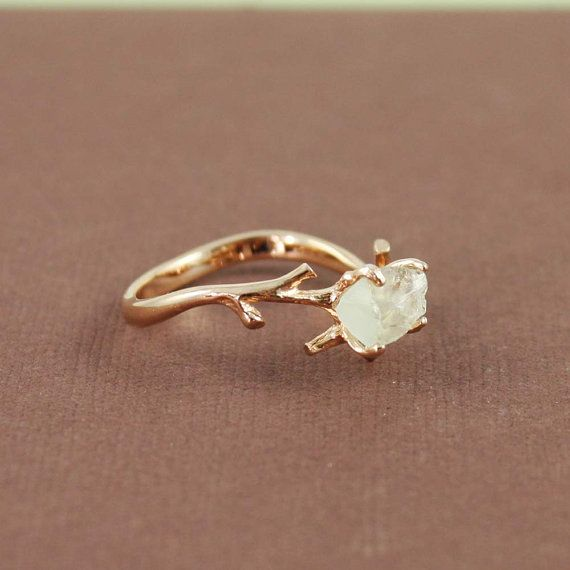 Unique Branch and Natural Green Amethyst Ring, branch ring, nature, rose gold, unique, gemstone, raw cut, uncut, rough cut