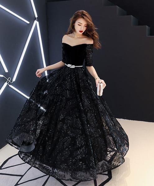 Unique black lace long prom dress, black lace evening dress