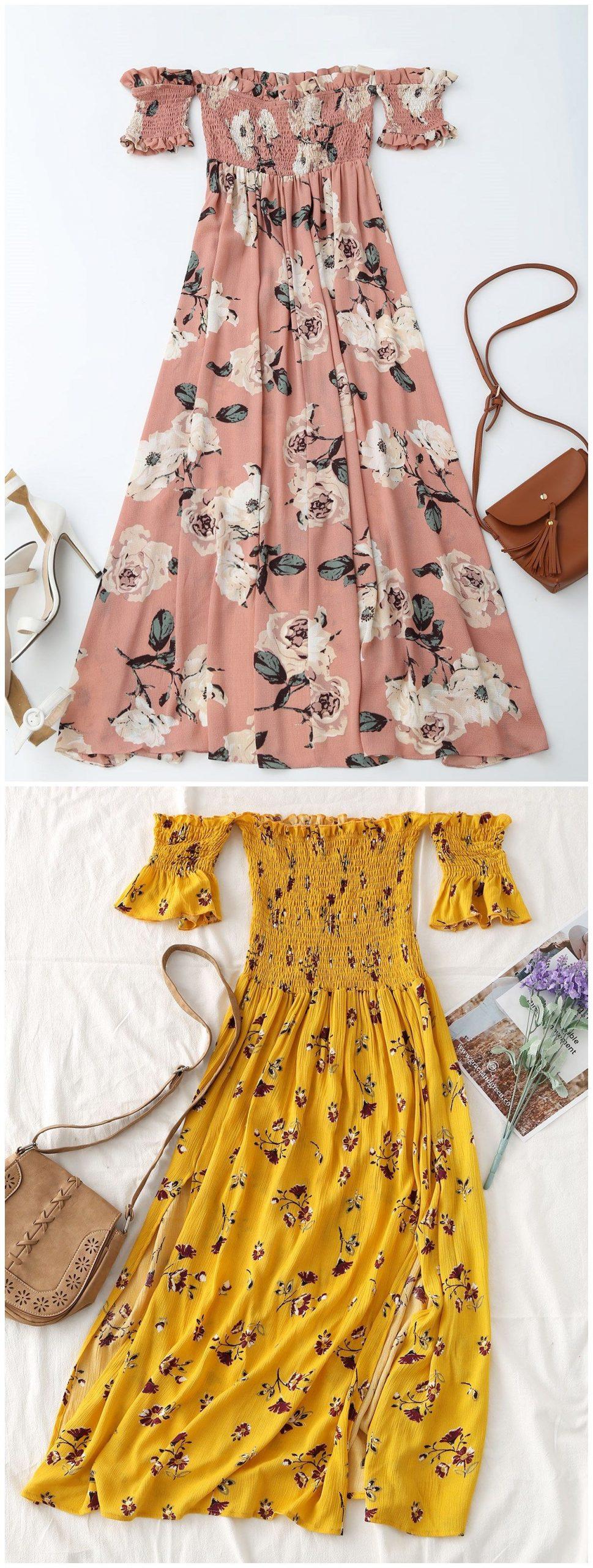 Up to 80% OFF! Floral Slit Smocked Off Shoulder Midi Dress. #Zaful #Dress Zaful,…