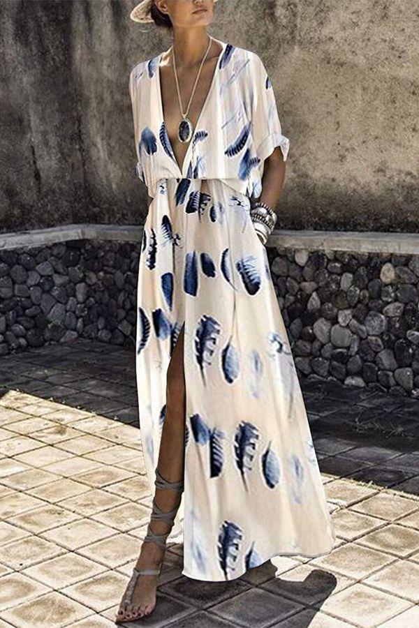 V-Neck Elastic Waist Floral Print Plain Maxi Dress