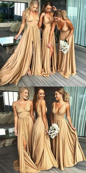 V-neck Side Slit Long Gold Bridesmaid Dresses,Sexy Bridesmaid Dresses,WGY0201 V-neck Side Slit Long Gold Bridesmaid Dresses,Sexy Bridesmaid Dresses,WGY0201