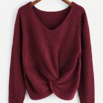 V-neckline Twist Front Chunky Sweater
