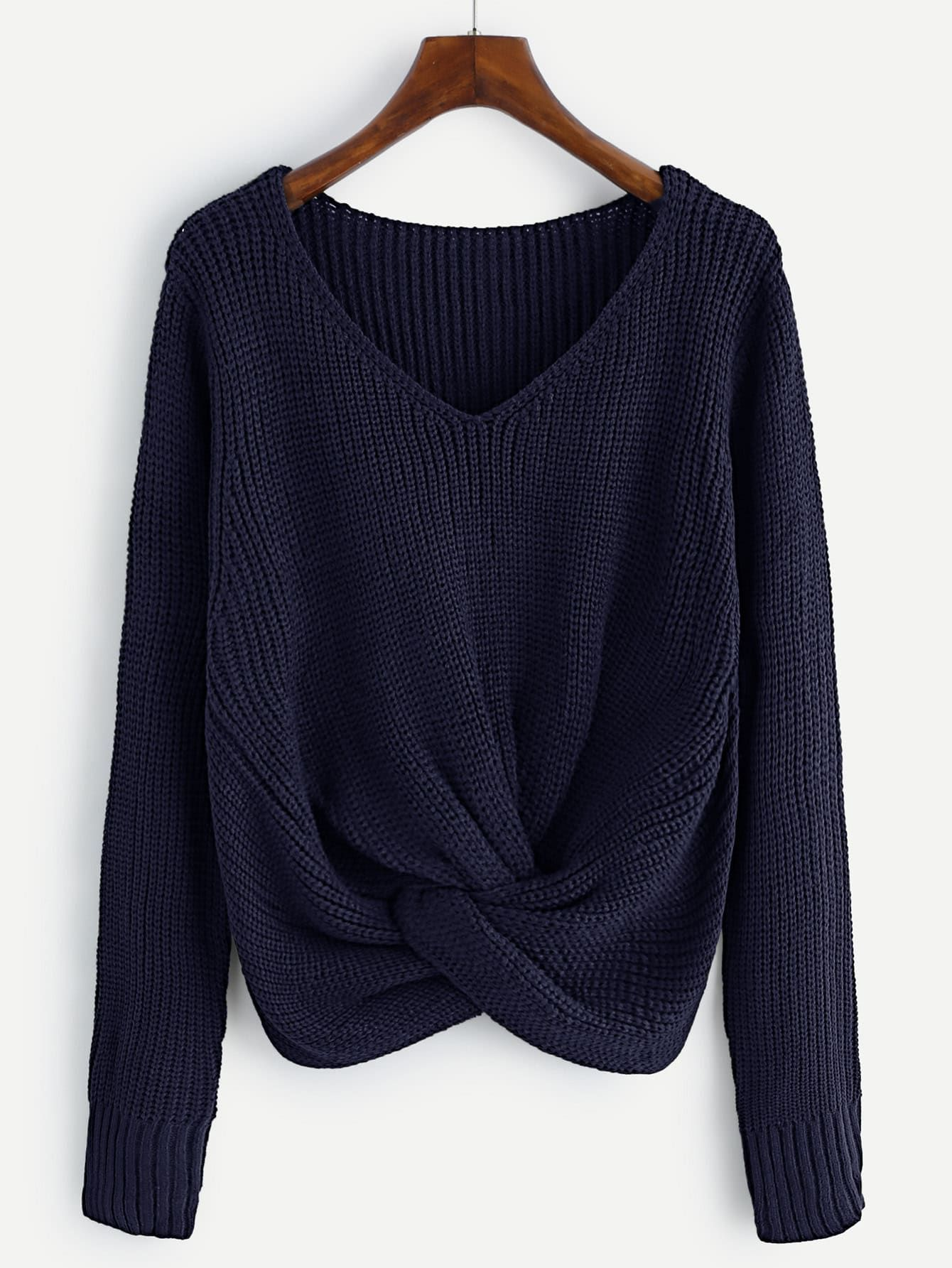 V-neckline Twist Front Sweater