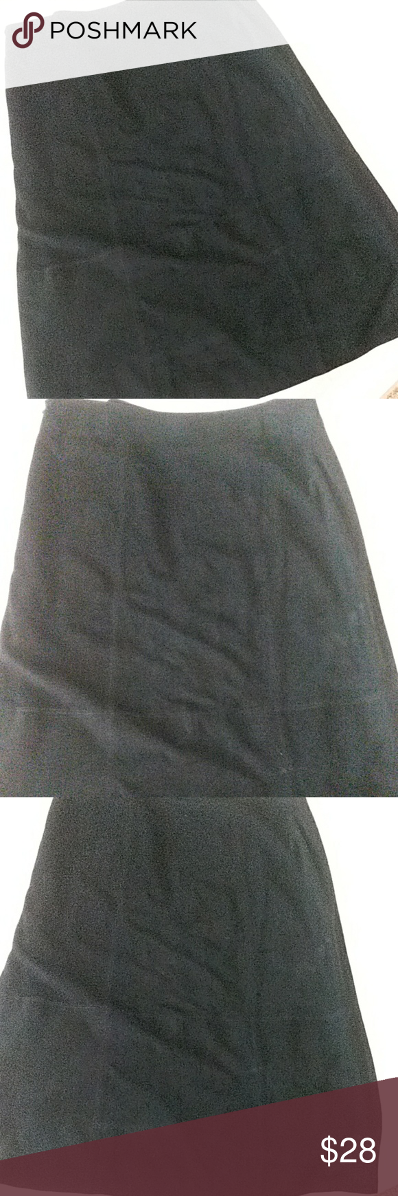 Valerie Sueded Leather Maxi Skirt 14 Beautiful black suede skirt is panels piece…