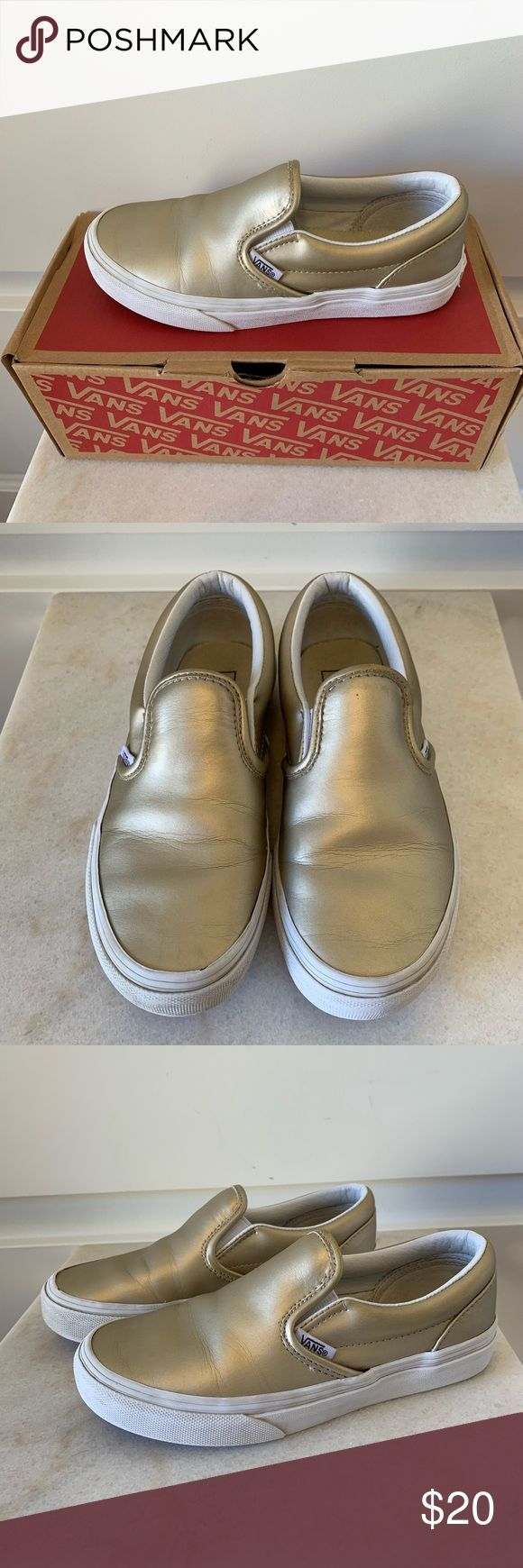 Vans Shoes | Muted Metallic Gold Van Slip Ons | Color: Gold | Size: 1.5g#colorfu…