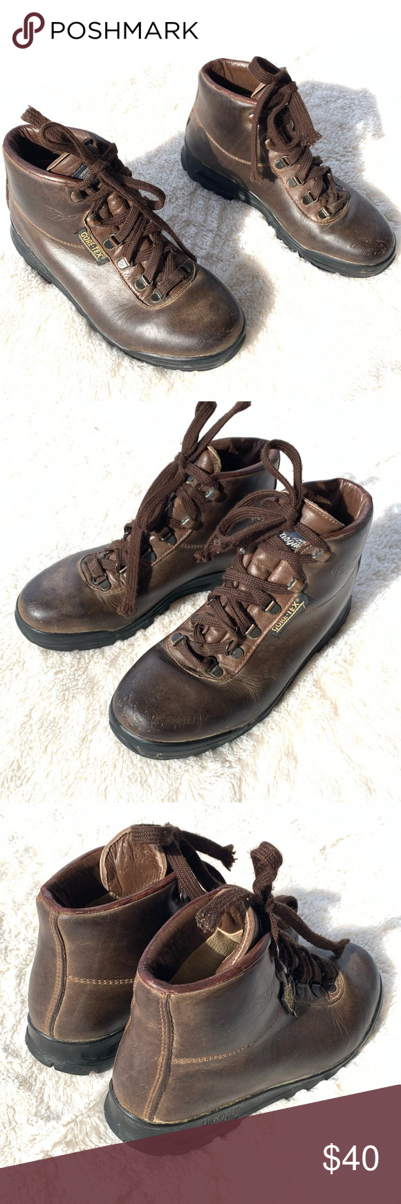 Vasque Gore-Tex Lace Up Hiking Boots Vasque Gore-Tex brown cowhide leather hikin…