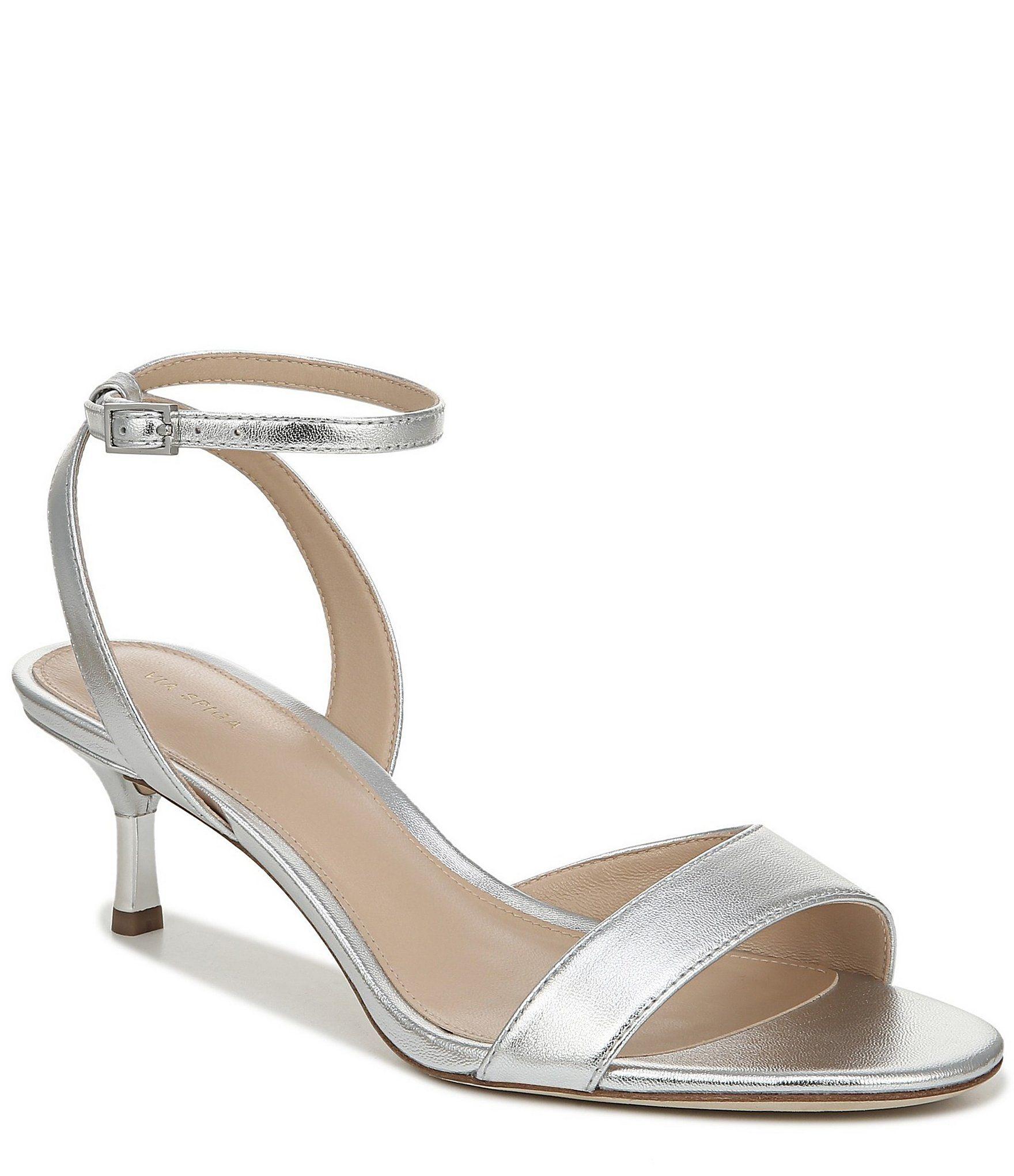 Via Spiga Louise Metal Kitten Heel Metallic Leather Dress Sandals | Dillard's