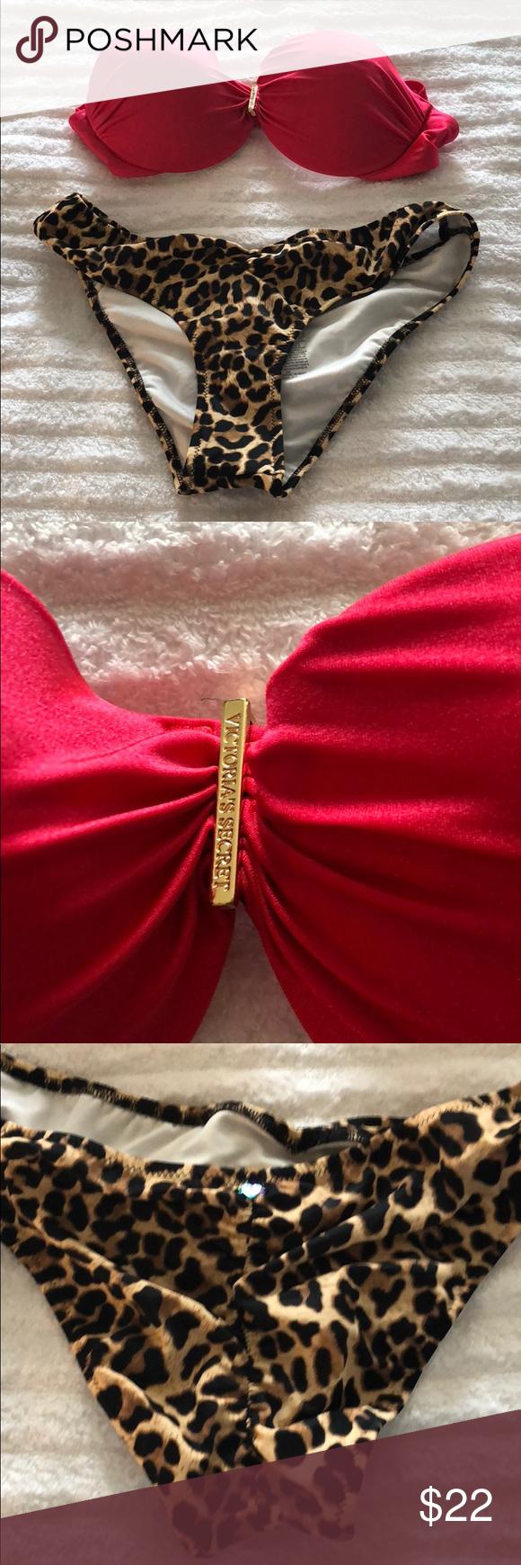 Victoria's Secret mismatched bikini Beautiful mismatched red and leopard bikin…